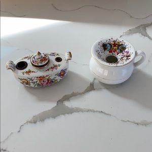 Antique French inkwell and teacup Limoges Ovington